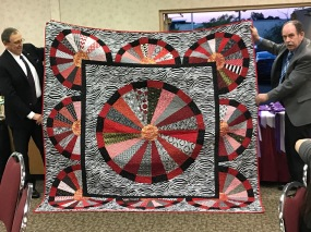 Beautiful quilt for Jazzy Cats raffle, handcrafted by Sharon Miller